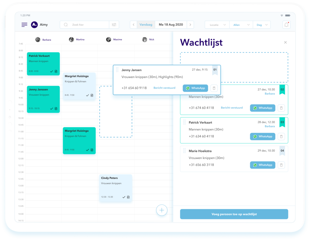 wachtlijst salon software Aimy agenda